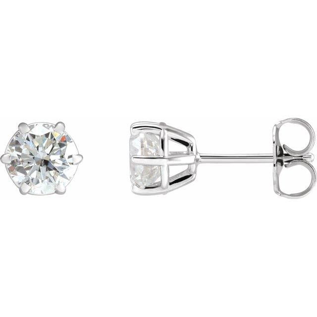 14K White 5.75 mm I1 1 1/2 CTW Diamond 6-Prong Wire Basket Earrings