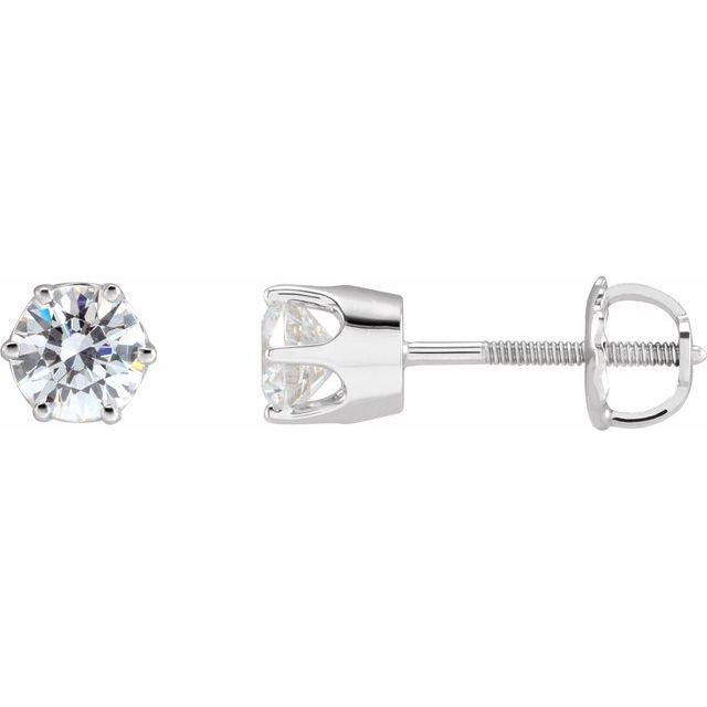 14K White 5 mm Round Cubic Zirconia Earrings