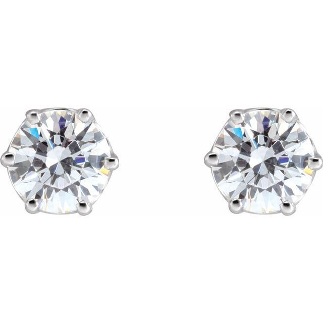 14K White 5 mm Imitation Cubic Zirconia Stud Earrings