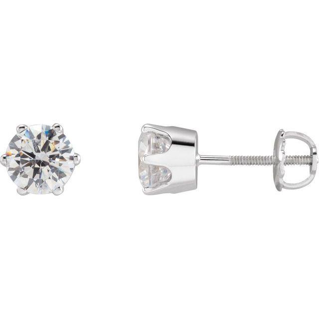 14K White 6.5 mm Imitation Cubic Zirconia Stud Earrings