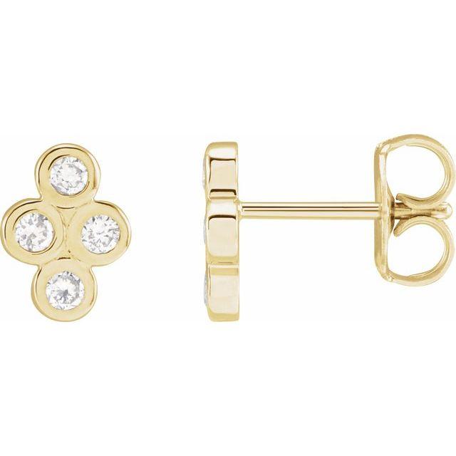 14K Yellow 1/4 CTW Diamond Bezel-Set Cluster Earrings