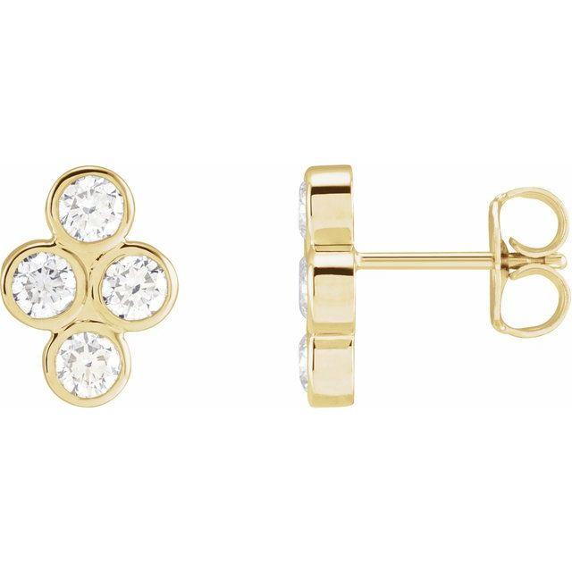 14K Yellow 3/4 CTW Diamond Bezel-Set Cluster Earrings