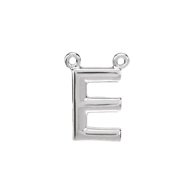 Sterling Silver Block Initial E Necklace Center
