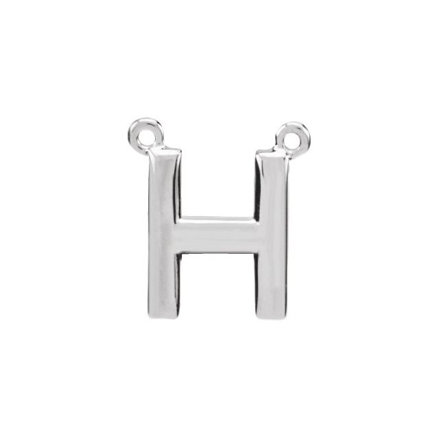 Sterling Silver Block Initial H Necklace Center