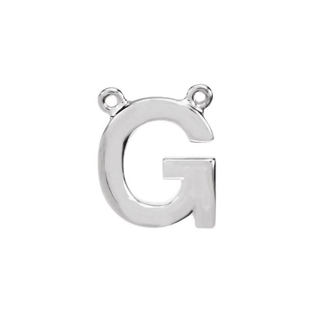 Sterling Silver Block Initial G Necklace Center