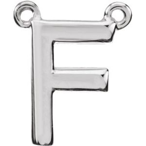 Sterling Silver Block Initial F Necklace Center