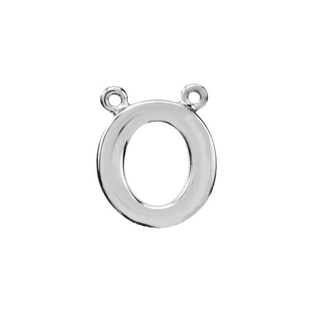 Sterling Silver Block Initial O Necklace Center