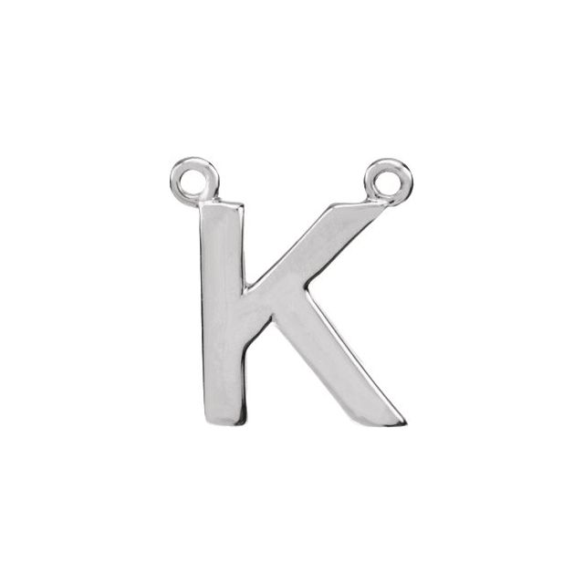 Sterling Silver Block Initial K Necklace Center