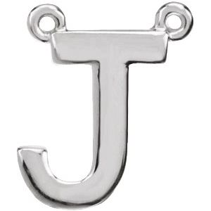 Sterling Silver Block Initial J Necklace Center