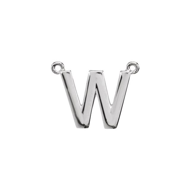 Sterling Silver Block Initial W Necklace Center