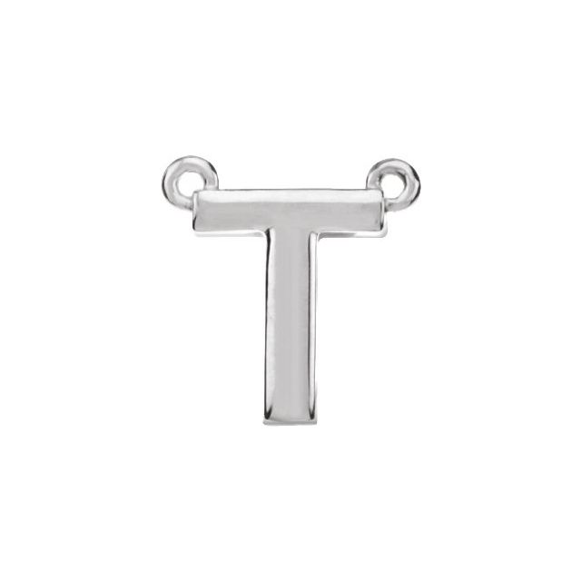 14K White Block Initial T Necklace Center