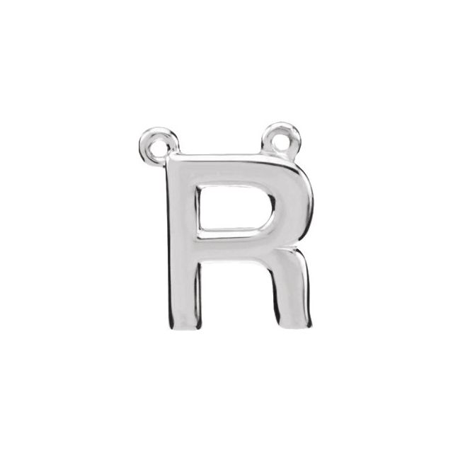 Sterling Silver Block Initial R Necklace Center