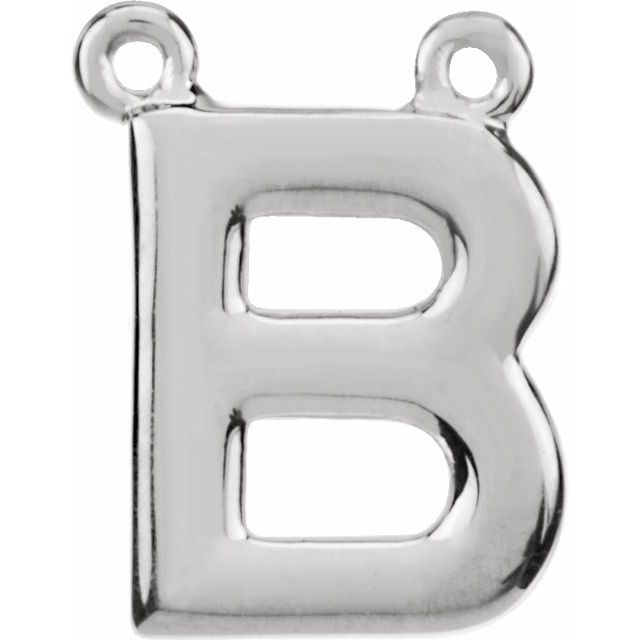 Sterling Silver Block Initial B Necklace Center