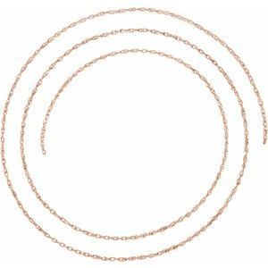 14K Rose 1.25 mm Rope Per Inch Chain