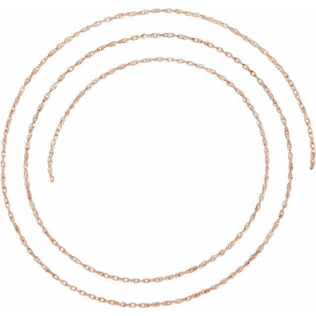 14K Rose 1.25 mm Rope Per Inch Chain