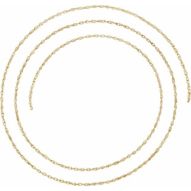 10K Yellow 1.25 mm Rope Per Inch Chain