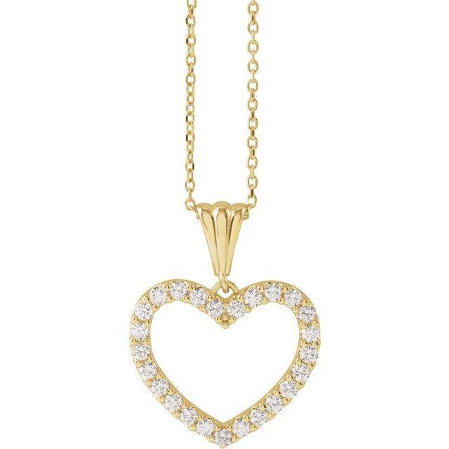 14K Yellow 1/2 CTW Diamond Heart 18