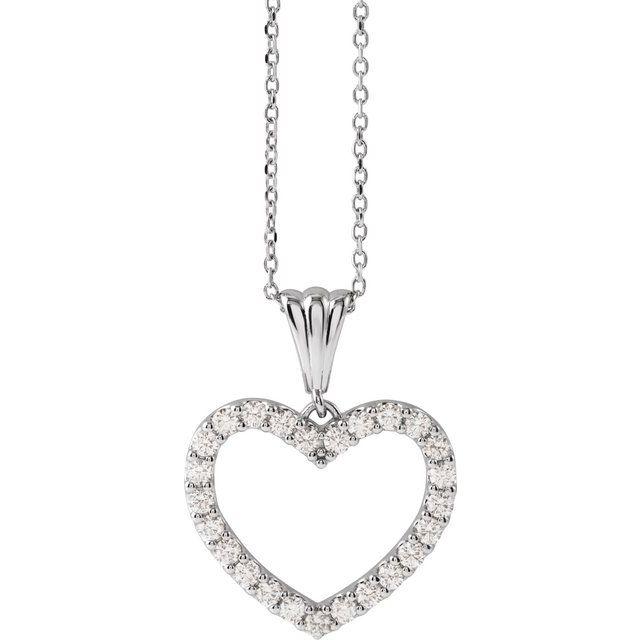 14K White 1/2 CTW Diamond Heart 18