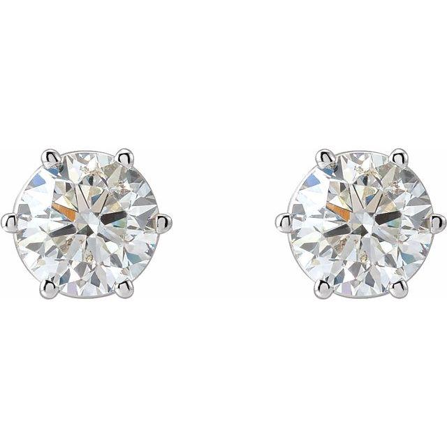 14K White 2 CTW Diamond 6-Prong Stud Earrings