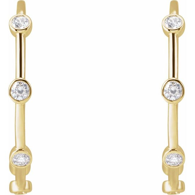 14K Yellow 5/8 CTW Diamond Bezel-Set Hoop Earrings
