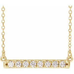 "14K Yellow 1/4 CTW Diamond French-Set Bar 18"" Necklace"