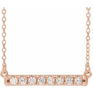 "14K Rose 1/4 CTW Diamond French-Set Bar 18"" Necklace"