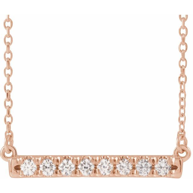 14K Rose 1/4 CTW Diamond French-Set Bar 16