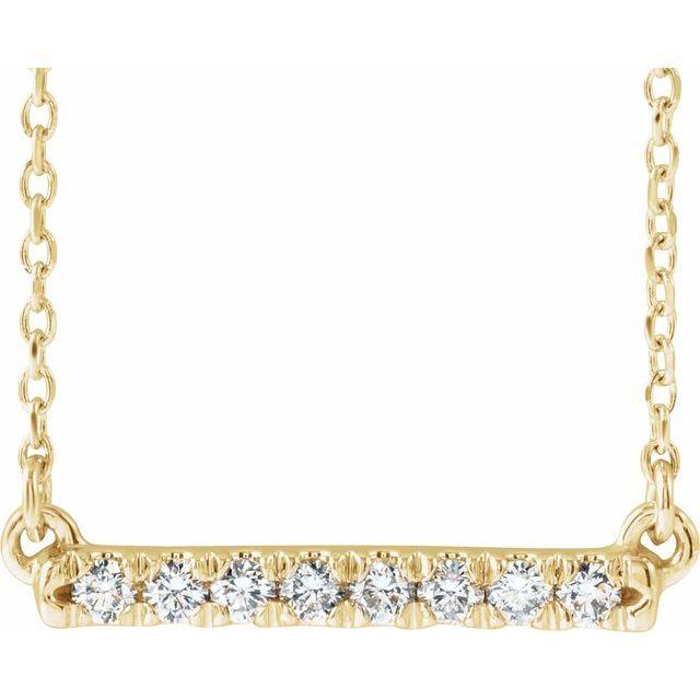 14K Yellow 1/8 CTW Diamond French-Set Bar 16