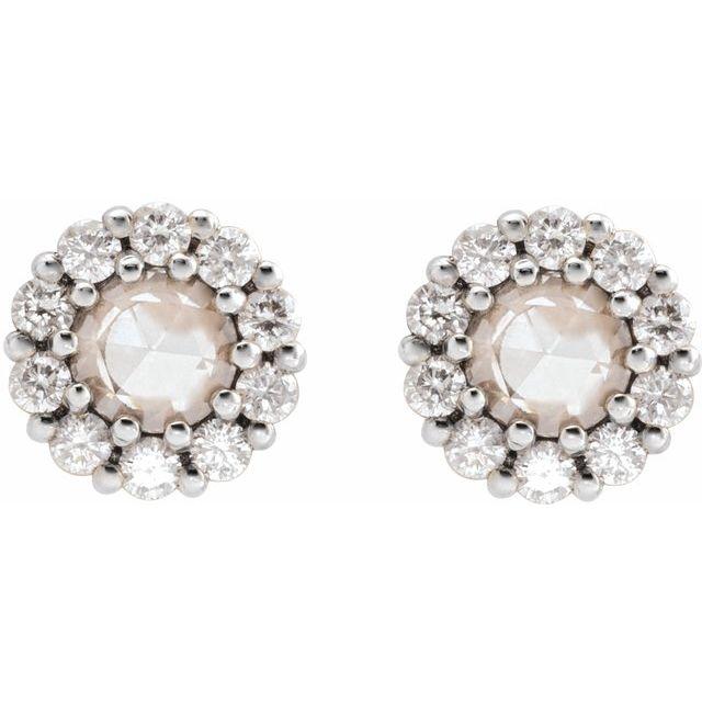 14K White 3/8 CTW Rose-Cut Diamond Halo-Style Earrings