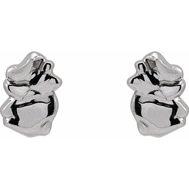 14K White Tiny Nugget Earrings