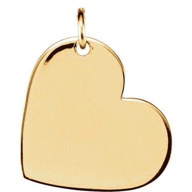 18K Yellow Vermeil 16x14 mm Heart Pendant
