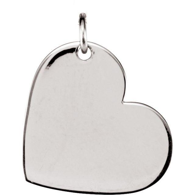 14K White 24x21 mm Heart Pendant