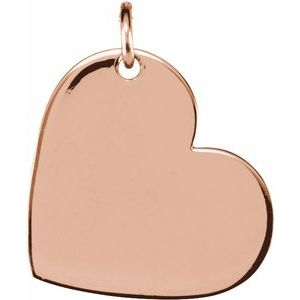 14K Rose 11x9 mm Heart Pendant