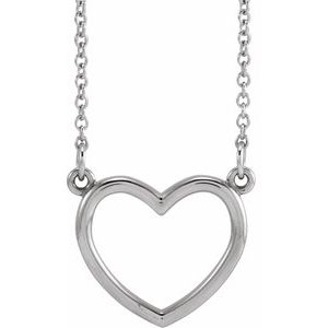 """14K White 13.8x13 mm Heart 16"""" Necklace"""