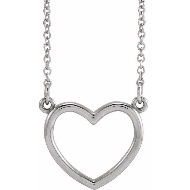14K White 13.8x13 mm Heart 16