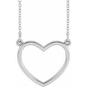 """14K White 17x15.8 mm Heart 16"""" Necklace"""