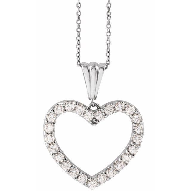 14K White 1 CTW Diamond Heart 18