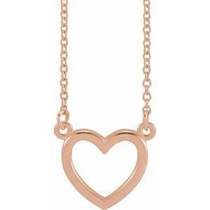 "14K Rose 10.8x10 mm Heart 16"" Necklace"