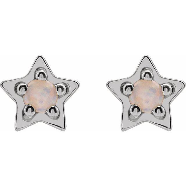 14K White Opal Star Earrings