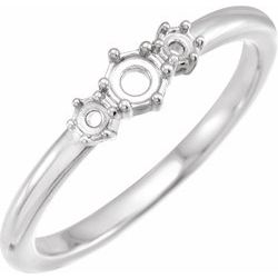 Rose-Cut Three-Stone Ring