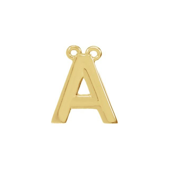 14K Yellow Block Initial A Necklace Center
