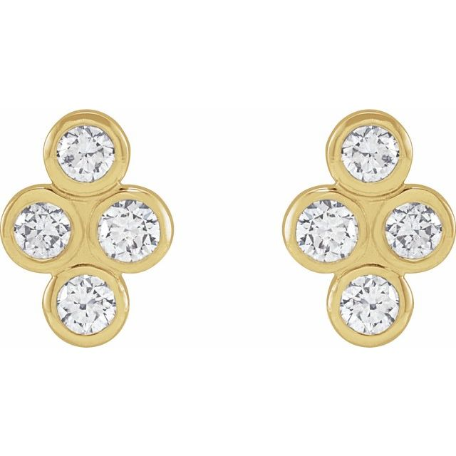 14K Yellow 1/2 CTW Diamond Bezel-Set Cluster Earrings