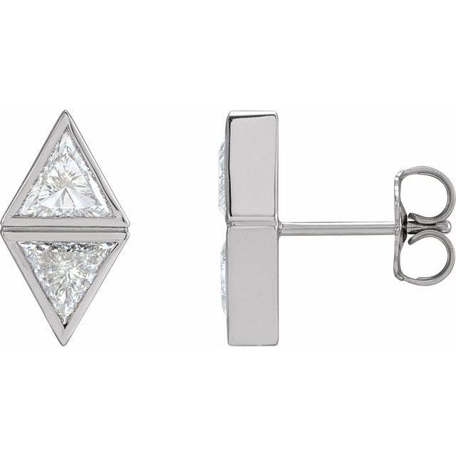 14K White 1 1/5 CTW Diamond Two-Stone Bezel-Set Earrings