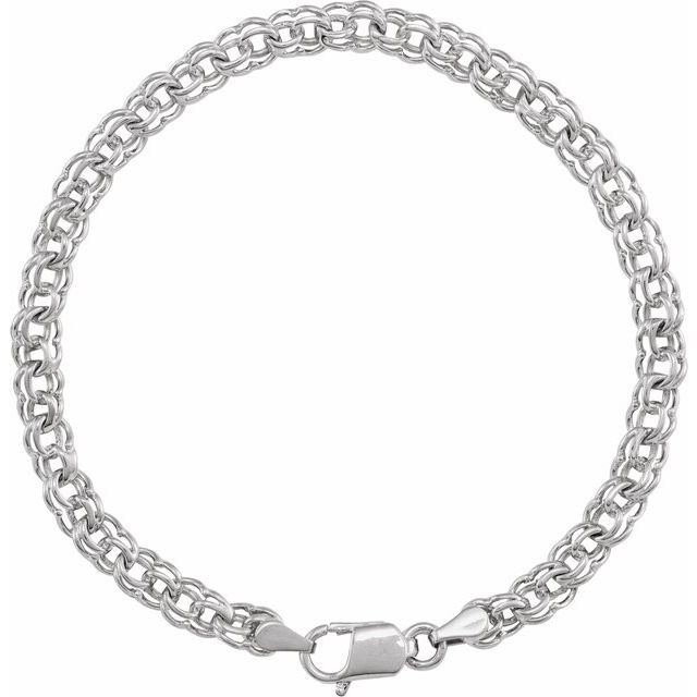 14K White Solid Double Link Charm Bracelet