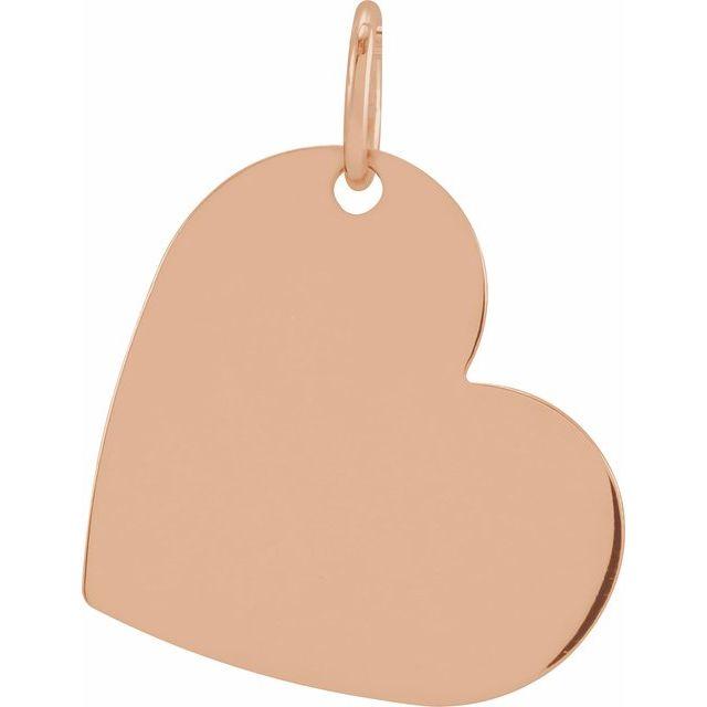 14K Rose 16x14 mm Heart Pendant