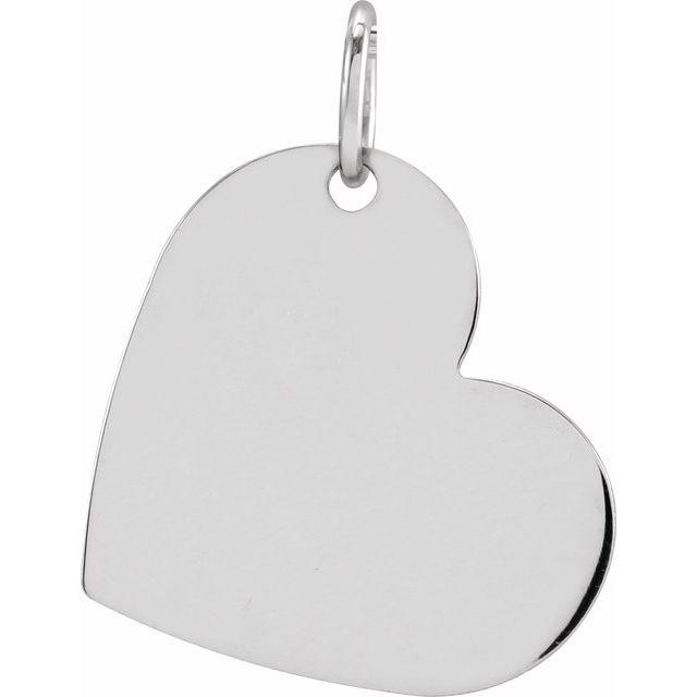14K White 16x14 mm Heart Pendant