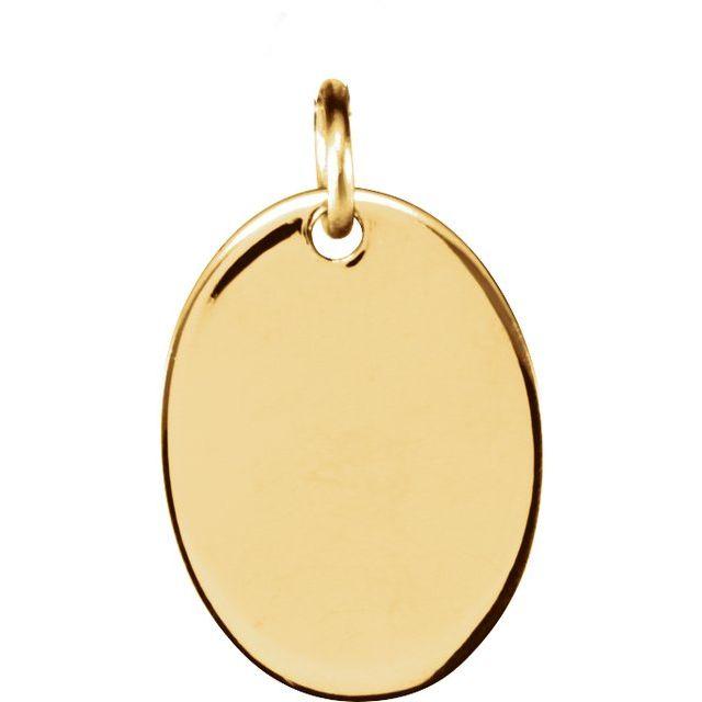 14K Yellow 12.7x9.5 mm Oval Pendant