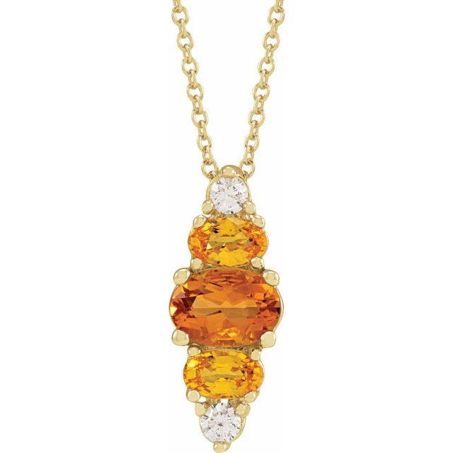 14K Yellow Yellow Multi-Gemstone Bar 16-18