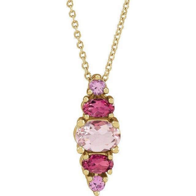 14K Yellow Pink Multi-Gemstone Bar 16-18