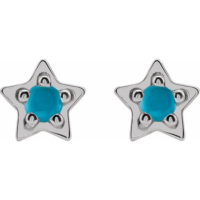 14K White Turquoise Star Earrings